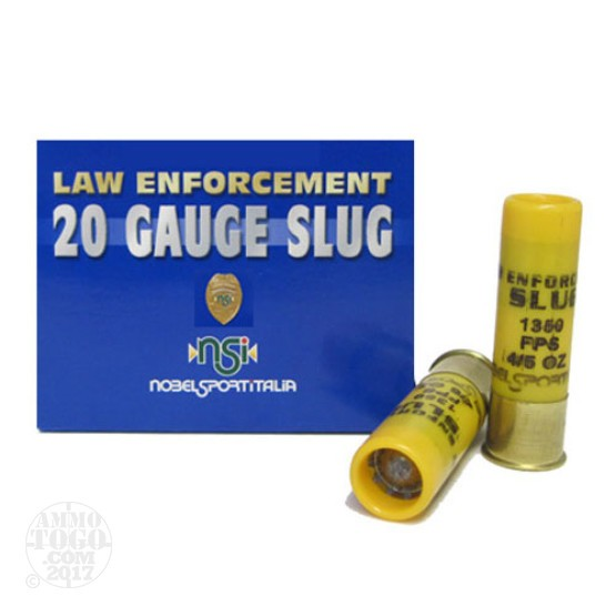"50rds - 20 Gauge NobelSport 2 3/4"" 4/5oz Slug Ammo"