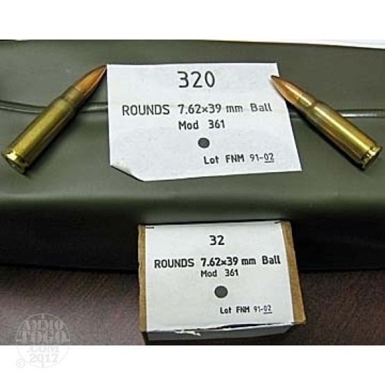 960rds - 7.62x39 Portuguese Military FMJ Ammo in Battlepacks