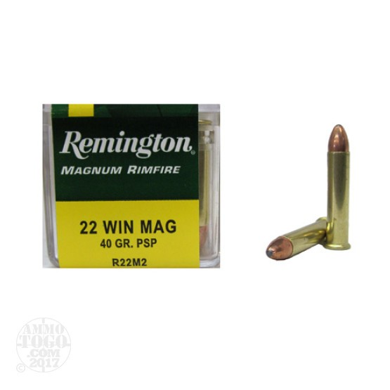 50rds - 22 Mag Remington 40gr. Pointed Soft Point Ammo