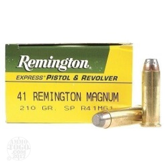 50rds - 41 Mag Remington Express 210gr. Semi-Jacketed Soft Point Ammo