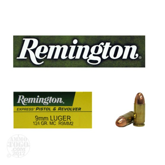 50rds - 9mm Remington Express 124gr. Metal Case Ammo
