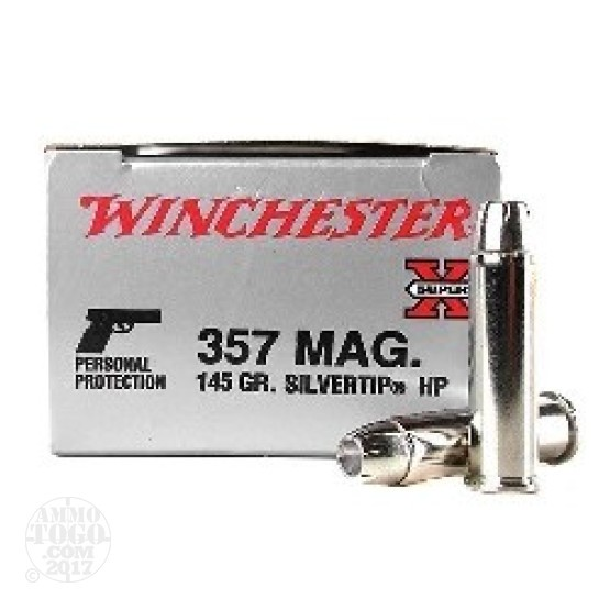50rds - 357 Mag Winchester 145gr. Silvertip Hollow Point Ammo