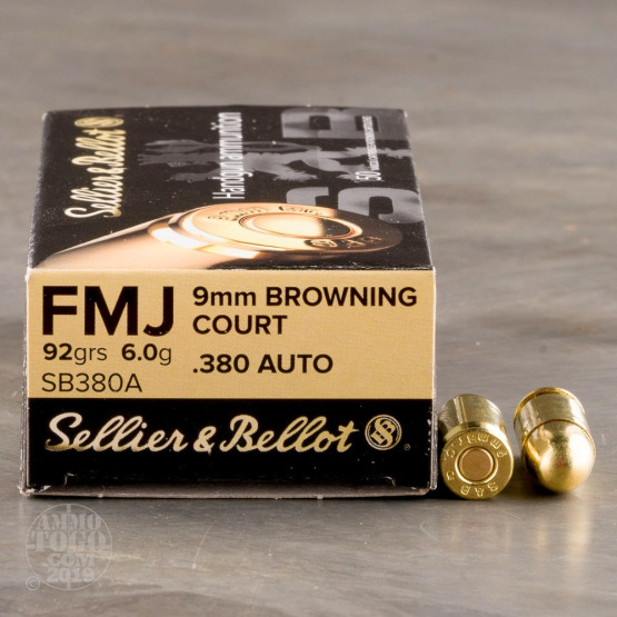 50rds – 380 Auto Sellier & Bellot 92gr. FMJ Ammo