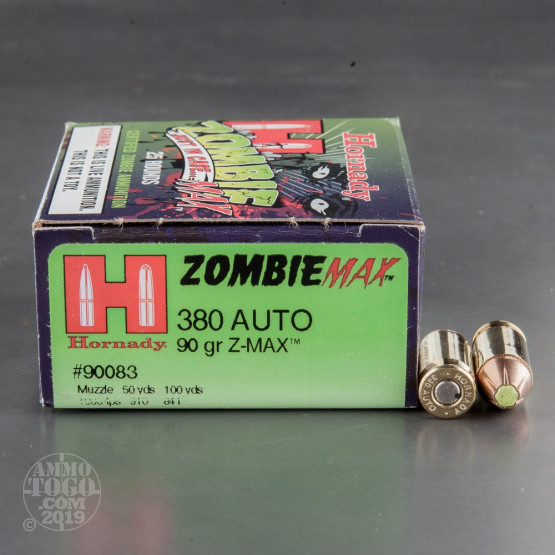 25rds - 380 Auto Hornady Zombie Max 90gr. Z-Max Hollow Point Ammo