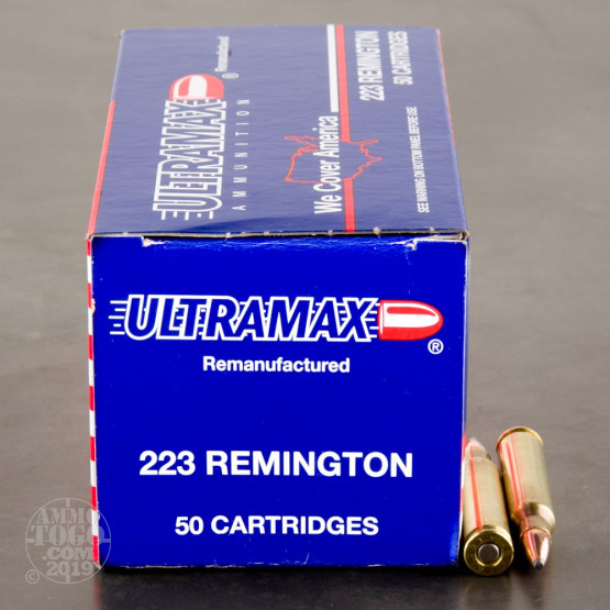 500rds - 223 Ultramax 55gr  Soft Point Remanufactured Ammo
