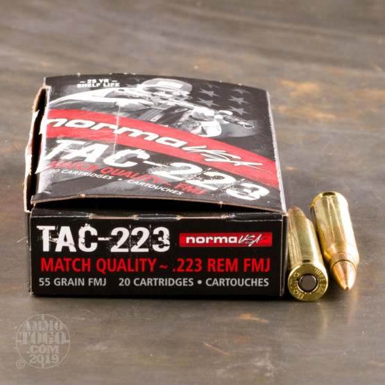 20rds - 223 Norma USA TAC-223 55gr  FMJ Ammo