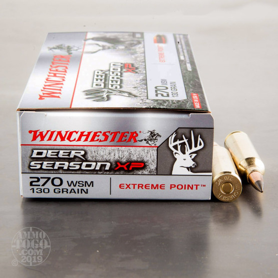 20rds - 270 WSM Winchester Deer Season XP 130gr  Polymer Tipped Ammo