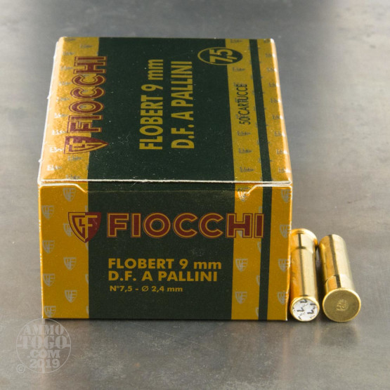 "50rds - 9mm Rimfire Flobert Fiocchi 1 3/4"" 1/4oz. #7 1/2  Shot Ammo"