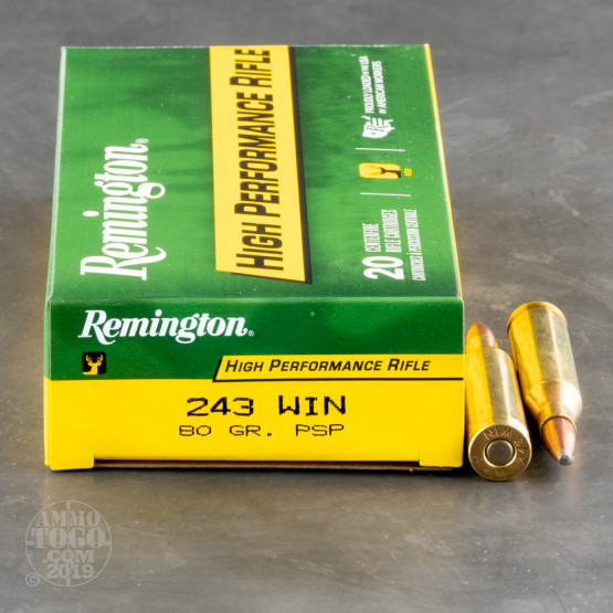 20rds - 243 Win Remington 80gr Core-Lokt PSP Ammo