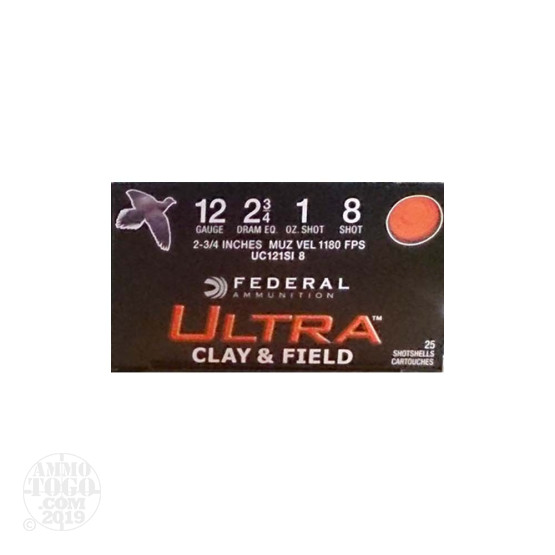 "25rds – 12 Gauge Federal Ultra Clay & Field 2-3/4"" 1 oz. #8 Shot Ammo"