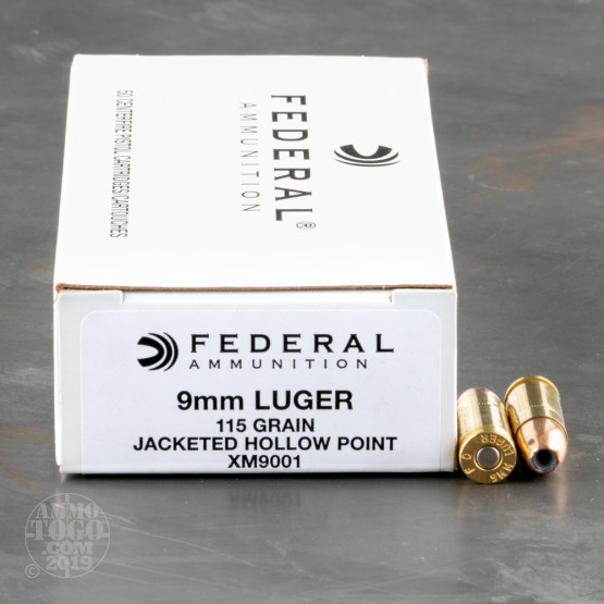 50rds - 9mm Federal 115gr. JHP Ammo