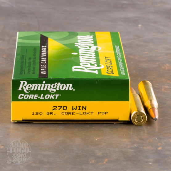 20rds - 270 Win Remington 130gr. Core-Lokt Soft Point Ammo