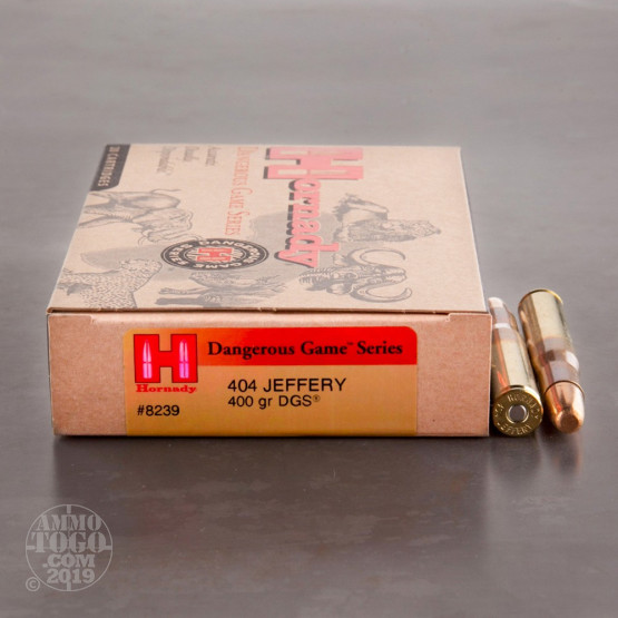 20rds – 404 Jeffery Hornady Dangerous Game Series 400gr. DGS Ammo