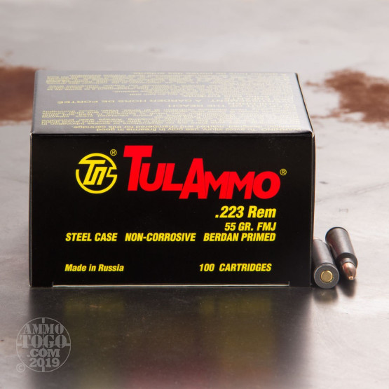 1000rds - 223 Remington Tula 55gr. FMJ Ammo