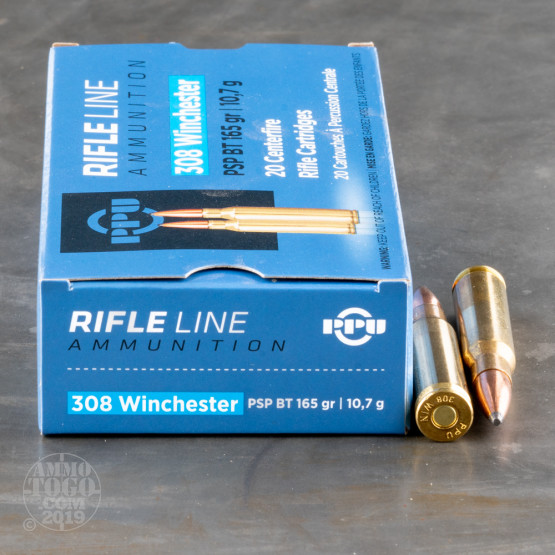 20rds - .308 Prvi Partizan 165gr. Pointed Soft Point Ammo