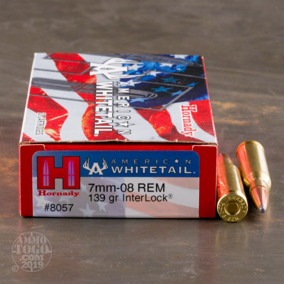 20rds - 7mm-08 Rem. Hornady American Whitetail 139gr. InterLock SP Ammo