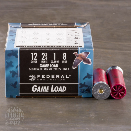 "250rds - 12 Gauge Federal Game Shok 2 3/4"" 1oz. #8 Shot Ammo"