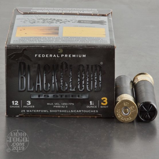 "25rds - 12 Ga. Federal Blackcloud 3"" 1 1/4oz. #3 Steel Shot Ammo"