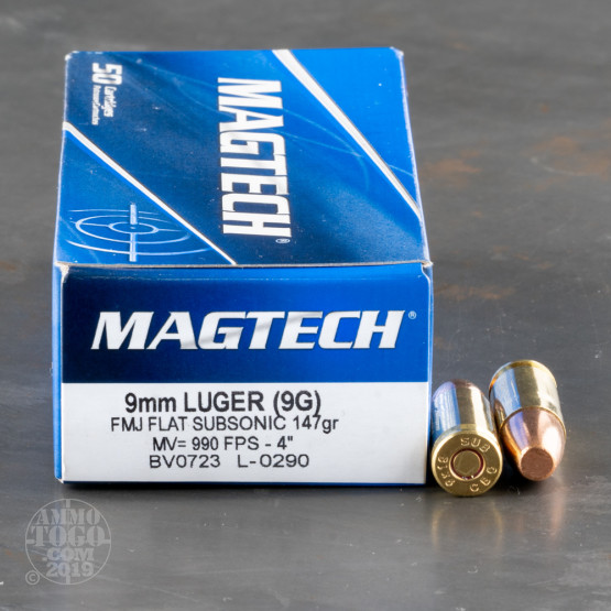1000rds – 9mm Magtech Subsonic 147gr. FMC Flat Point Ammo