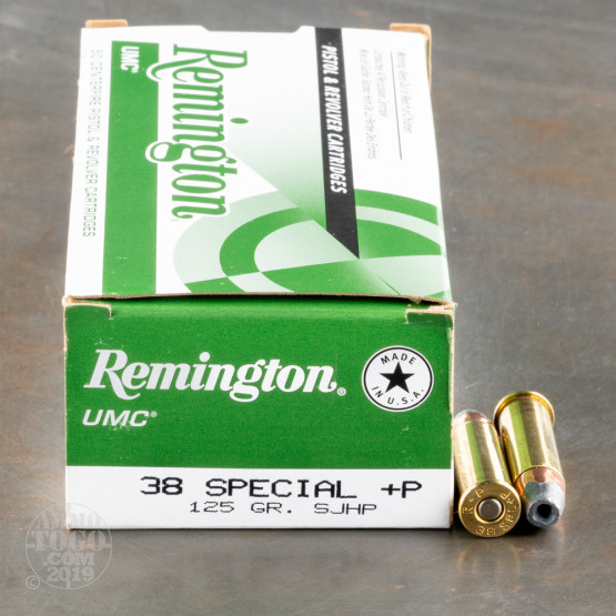 50rds - 38 Special Remington UMC 125gr. +P HP Ammo