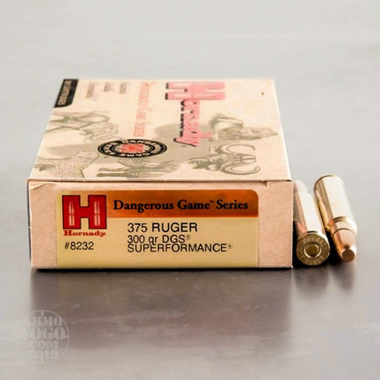 20rds - 375 Ruger Hornady Dangerous Game Series 300gr  DGS Ammo