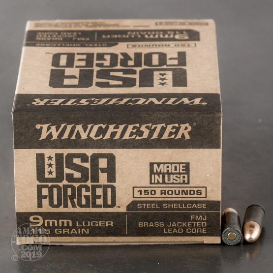 150rds – 9mm Winchester USA Forged 115gr. FMJ Ammo