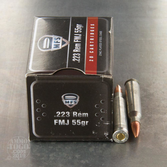 500rds - 223 Rem. MFS 55gr FMJ Zinc Plated Steel Case Ammo