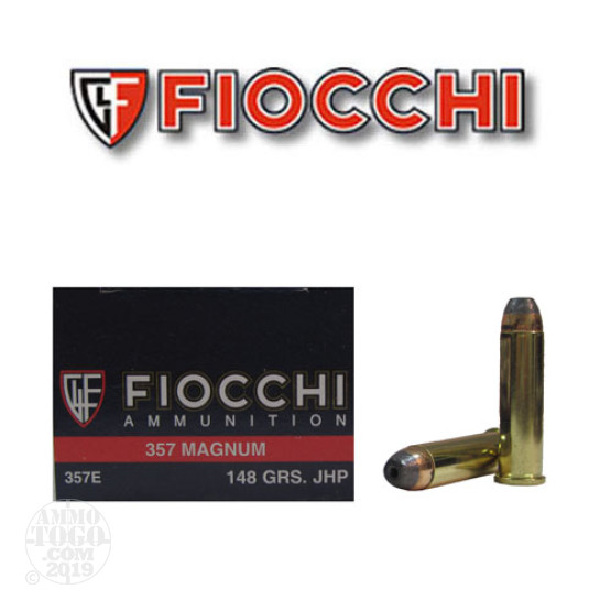 50rds - 357 Magnum Fiocchi 148gr Hollow Point Ammo