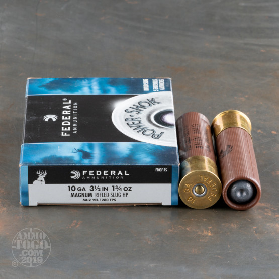 "5rds - 10 Gauge Federal Power-Shok 3 1/2"" 1 3/4oz. Rifled Slug Ammo"