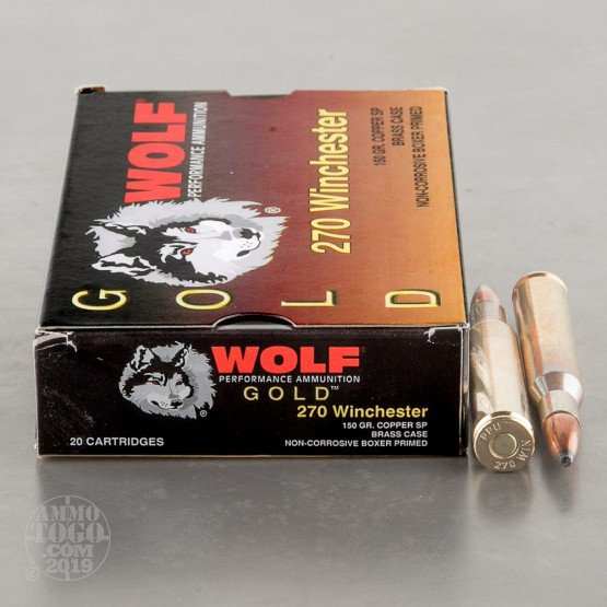 20rds - .270 Wolf Gold 150gr. Copper Soft Point Ammo