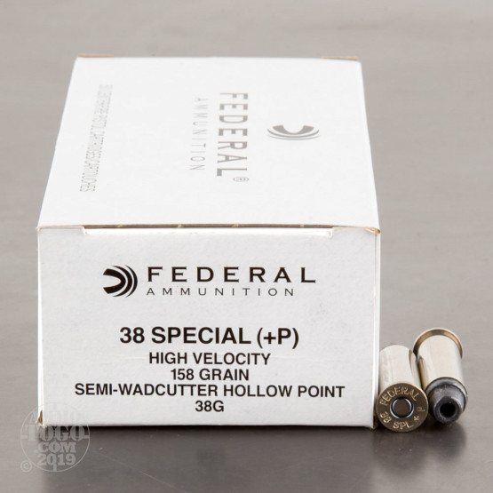50rds – 38 Special +P Federal LE 158gr. LSWHP Ammo