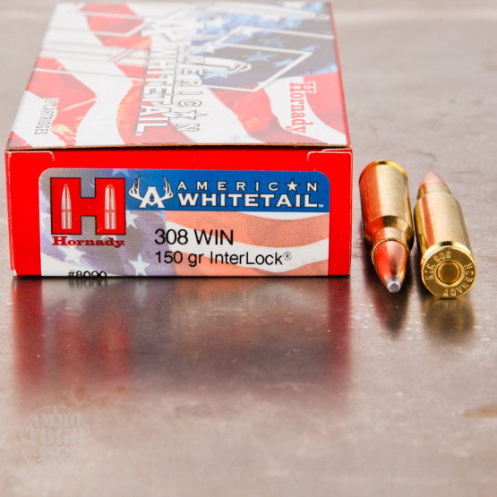 200rds – 308 Win Hornady American Whitetail 150gr. InterLock SP Ammo