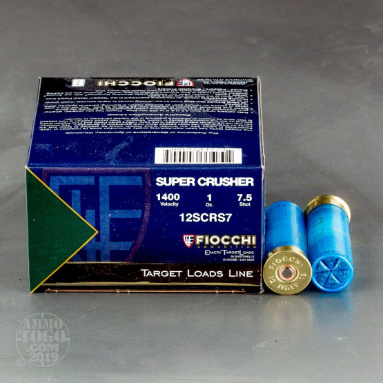 "250rds - 12ga Fiocchi SUPER CRUSHER 2 3/4"" 1oz. #7 1/2 Shot Target Ammo"