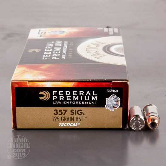 50rds - 357 Sig Federal LE Tactical HST 125gr. Hollow Point Ammo