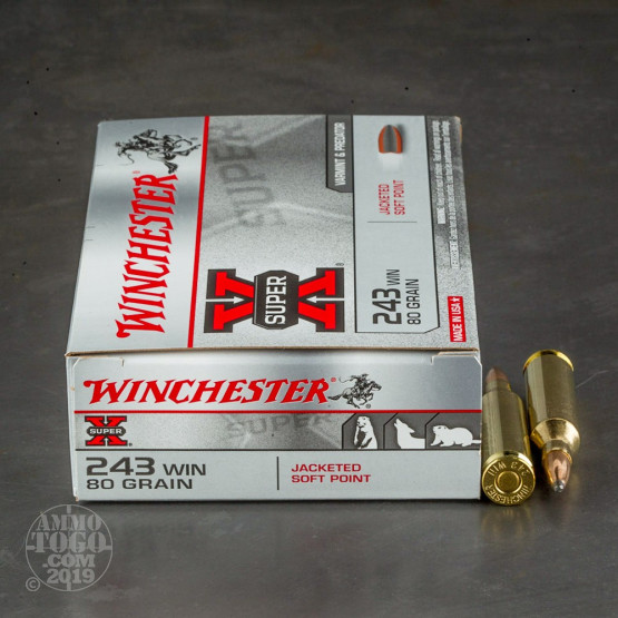 20rds - 243 Winchester Super-X 80gr. Pointed Soft Point Ammo