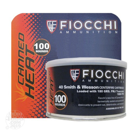 100rds - 40 S&W Fiocchi Canned Heat 180gr. FMJ Truncated Ammo
