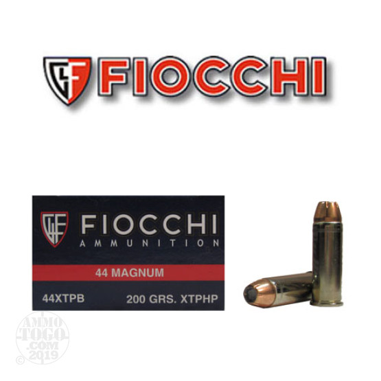 50rds - 44 Mag Fiocchi 200gr. XTP Jacketed Hollow Point Ammo