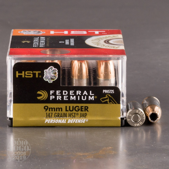 20rds - 9mm Federal Personal Defense 147gr. HST JHP Ammo