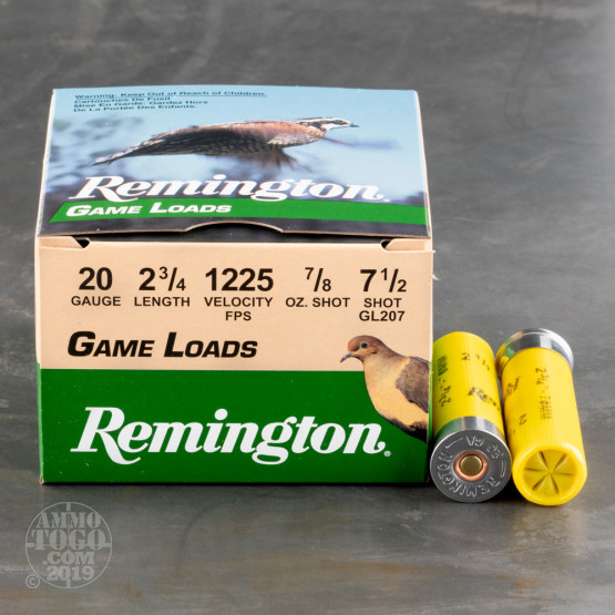 "25rds - 20 Gauge Remington Game Load 2 3/4""  7/8oz. #7 1/2 Shot"
