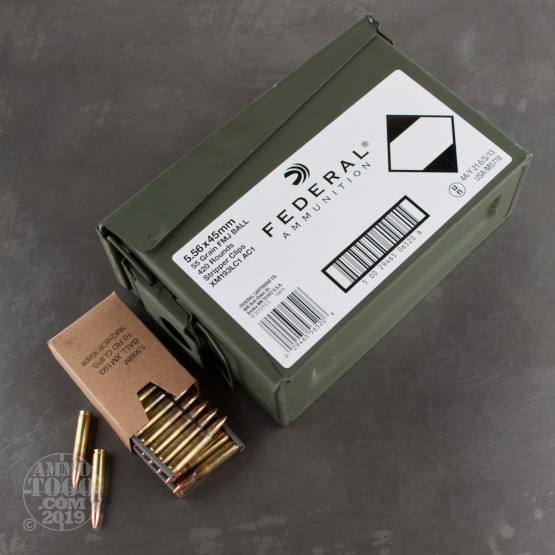 420rds - 5.56 Federal Lake City 55gr. FMJ Ammo on Stripper Clips (XM193LCAC1)