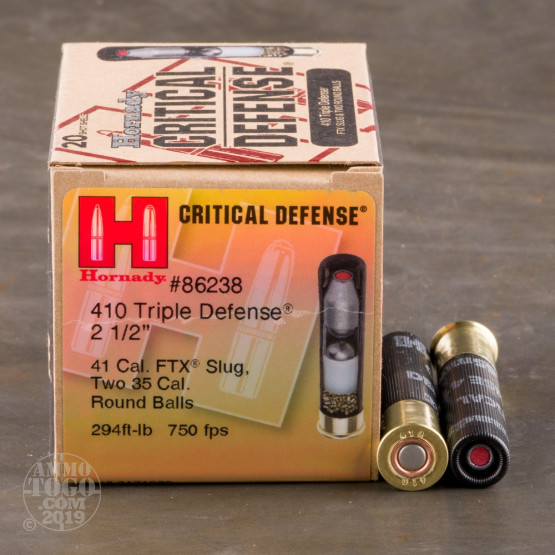 "20rds - 410 Gauge Hornady Critical Defense 2 1/2"" Triple Defense Ammo"