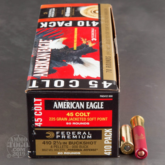 "70rds - 45 Long Colt/ 410 2 1/2"" Combo Federal American Eagle 225gr. JSP/000 Buck"
