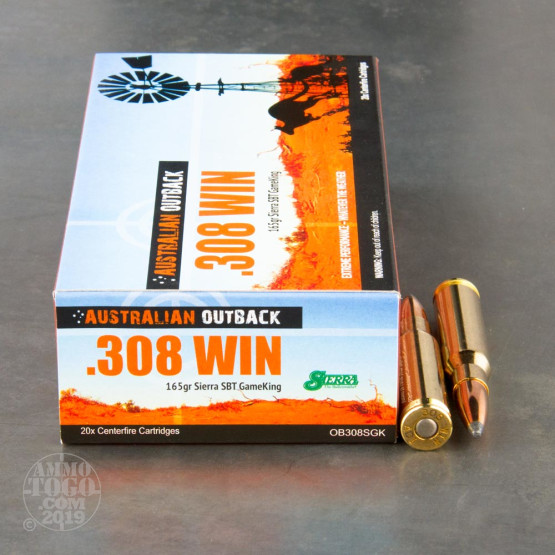20rds - .308 Win Australian Outback 165gr. Sierra GameKing SP BT Ammo