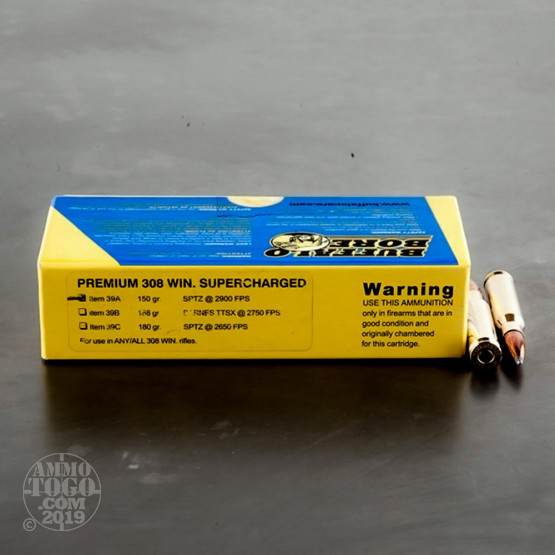 20rds - 308 Win  Supercharged Buffalo Bore 150gr  Spitzer PSP Ammo