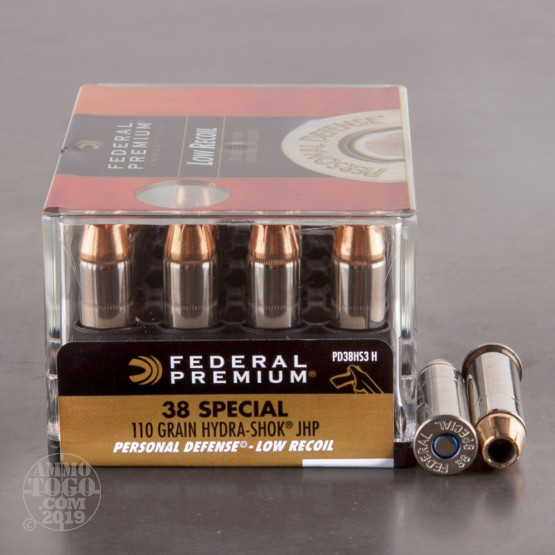 200rds – 38 Special Federal Hydra-Shok Low Recoil 110gr. JHP Ammo
