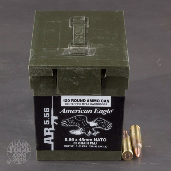 120rds - 5.56 Federal American Eagle XM193 55gr. FMJ Ammo in Mini Ammo Can