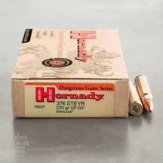 20rds - 376 Steyr Hornady Custom 270gr. Interlock Spire Point Ammo