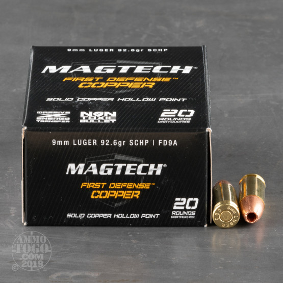 20rds - 9mm MAGTECH 93gr. First Defense Solid Copper HP Ammo