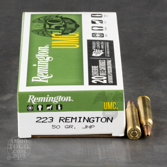 20rds - .223 Remington UMC 50gr. JHP Ammo