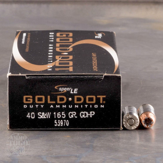 50rds – 40 S&W Speer LE Gold Dot 165gr. JHP Ammo